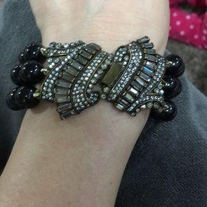 Black gold and diamond studded bracelet